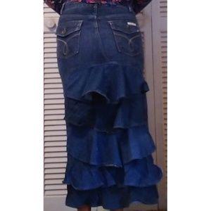Upcycled Denim Long Back Ruffle Skirt Calvin Klein